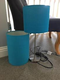 Matching set of light shade and bedside lamp Blue