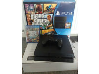 ps4 console full set GTA V edition like new used two times 3 best games