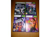 4 X XBOX 360 GAMES DANCE CENTRAL, DANCE CENTRAL 3 ,ZUMBA AND BIGS 2 BASEBALL