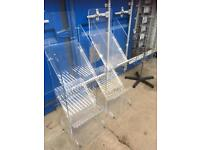 TWO SMALL THREE TIER NEWSPAPER/MAGAZINE STANDS