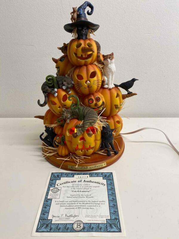 Rare Halloween Cat-O-Lantern by Charles Wysocki LE 2004 Light Up Pumpkins Mice