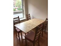 Dining table and 4 chairs, folding, solid wood