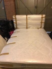 SHOWROOM Double Divan Bed Cream with mattress for sale