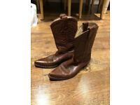 LADIES REAL LEATHER COWBOY WESTERN STYLE ANKLE BOOTS