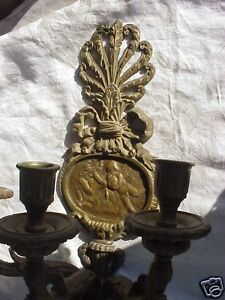 ANTIQUE-VICTORIAN-FRENCH-ROCOCO-CUPID-CHERUB-BRONZE-PATINA-WALL-CANDLE-SCONCE