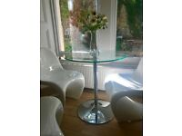 Stylish glass dining table & design classic chairs