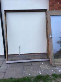 Set of Hardwood framed Glass Doors & Frame