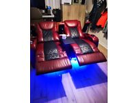 2-seater red and black leather cinema seating recliner