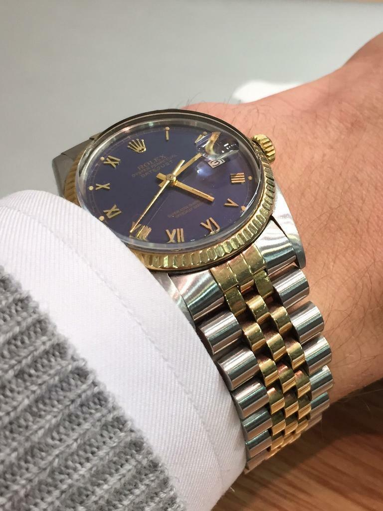 0178b15c18e Rolex Datejust 16013 Vintage Blue Dial Two-Tone Steel/Gold | in ...