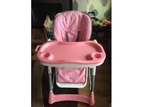 Pink Multifunctional High Chair