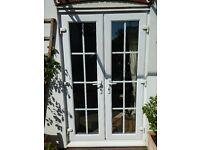 Pair of white upvc patio doors for sale
