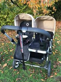 Bugaboo Donkey Complete Duo with carrycot, tray, cup holder and two matching rain covers