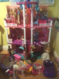 Barbie House with box, many dolls inc Frozen characters plus car, horse and bikes