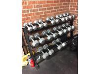 Body Power Hex Dumbbells, Full set 5-30kg with rack.