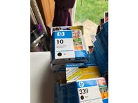 Assorted HP cartridges & canon cartridges + 2 epson