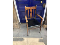 Late 19th Century Oak Framed Armchair, lovely detail . Good condition . Free Local Delivery