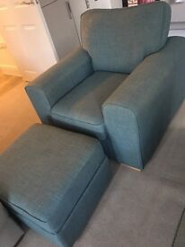 Very good condition DFS armchair and storage footstall
