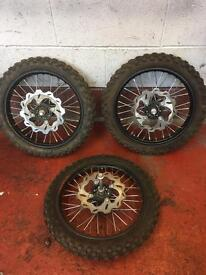 """PITBIKE 14"""" FRONT WHEELS WITH LIKE NEW TYRES"""