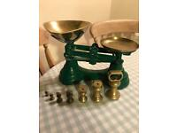 Kitchen scales with brass weights