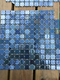 Blue mosaic wall tiles