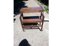 Antique Oak Serving Tea Trolley Metamorphic Butlers Table
