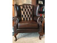 2 x REAL Leather, chesterfield Armchairs and a foot stall Can be sold SEPARATELY!