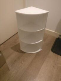 White Bathroom Three Shelf Corner Cabinet
