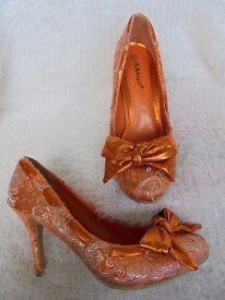 Size 6 - Orange - With silver thread.