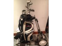 golf set includes trolley,stand,100s of balls,tee, glove and all golf clubs