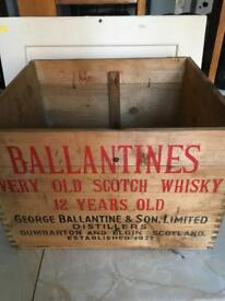 Rare collectible Vintage Ballentines Whisky crate