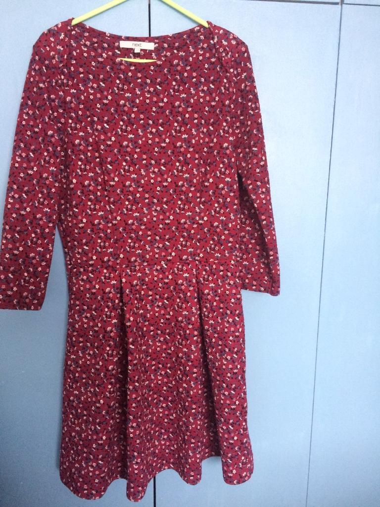 Next winter textured dress in ditsy print size 14