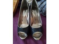Size 6 Black and Silver peep toe Dorothy Perkins shoes