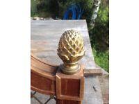 Large single bed head , very unusual wood brass, regency type