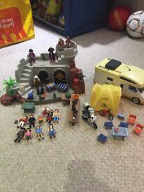 Playmobil pirate island, camping, camper van plus more and figures