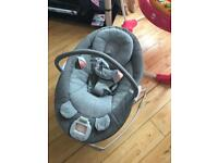 Mamas and Papas Apollo Baby Bouncer Chair with Music Book - Grey Melange