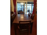 Dinning table with 6 leather chairs
