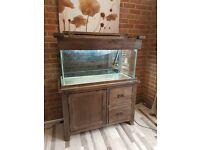 fish tank on oak stand