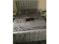 CRUSHED VELVET DOUBLE BED FRAME