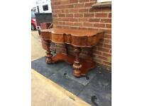 Antique Mahogany Curved Console Hall Table Desk with Drawer