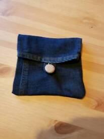 Denim coin purse. Accessory pouch