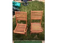 Solid Oak Folding Bistro Chairs Pair