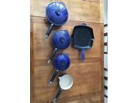 Vintage Genuine Le Creuset Saucepan Set Including Griddle Pan & Milk Pan