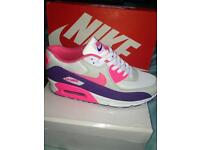 New Size 6 Nike Air Max 90 white pink purple Wonens Trainers