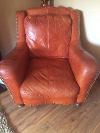 Distressed tan leather chair excellent condition £150