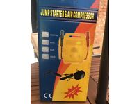 4-in-1 jump starter, air compressor, torch and output socket