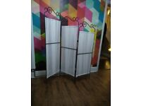 Steel and fabric vintage style room divider / 3 panel screen - discontinued from Ikea