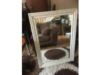 LARGE WHITE WOOD FRAMED MIRROR DISTRESSED