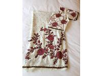 Beautiful Brand New off white chiffon sari with pink embroidery - Indian wedding