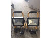 Pair of 10W LED Rechargeable Portable Work Site Lights