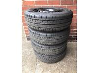 "Vw T5 Transporter 16"" Steel Wheels with Hankook Tyres 215/65/r16c NEW"